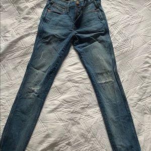 Madewell dropped hem high rise skinny jean